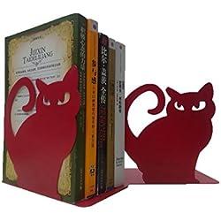 1par Vivid Lovely gato persa sujetalibros para estantes gato Estatua sujetalibros-sujetalibros de metal (decorativa, color rosso