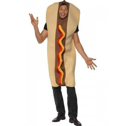 Herren Riese Hot Dog Essen Frankfurter Wurst Junggesellenabschied Dumm Kostüm Kleid Outfit (Hot Dog Und Ketchup Kostüm)