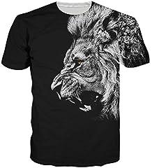 Idea Regalo - Loveternal Uomo Leone T-Shirt 3D Pattern Stampato novità Casual Manica Corta Top Tees Nero L