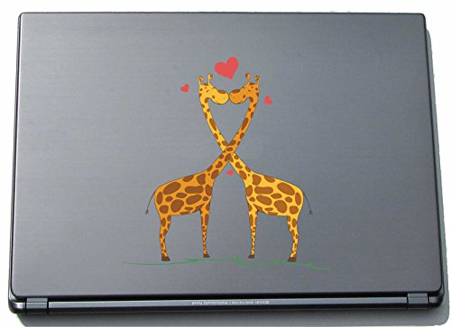 pinkelephant Laptopaufkleber Laptopskin lovely034 - Süße Herzen - Giraffe kissing - 210 x 208 mm Aufkleber (Giraffen-knochen)