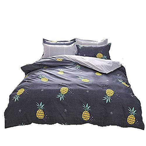4beddingset Bettbezug Set ohne Tröster Mikrofaser Stoff Kinder/Erwachsene beliebten Twin Full Queen Ananas Blume New Einhorn Design, Mikrofaser, Pineapple, Grey, Queen, 78