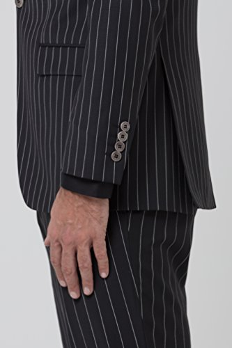 Sarah Kern Homme Herrenanzug gestreift Model Denver- der elegante Anzug in schwarz weißer Nadelstreifen Optik besticht durch seine Präsenz und strukturierter Schulter Schwarz Weiße Nadelstreifen
