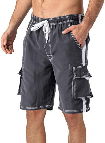 Herren Badeshorts Sommer Badehose Strand Shorts Swim Trunks Mens Classic Board Shorts Men Mesh Trunks Thin Bathing Shorts Summer Surf Shorts Water Sports Shorts Men with Mesh Lining Trunks Grey Gray