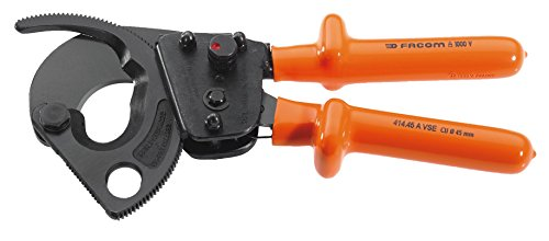 414.45AVSE FACOM 260MM RATCHET CABLE CUTTERS 45MM CAPACITY INSULATED 1000V VDE INSULATION WITH SAFETY COLOUR CODING
