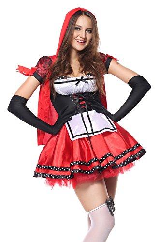 Wench Kostüm (MOONIGHT Rotkäppchen Damen Dirndl Serving Wench Bayerisches Biermädchen Oktoberfest Kostüm für Erwachsene)