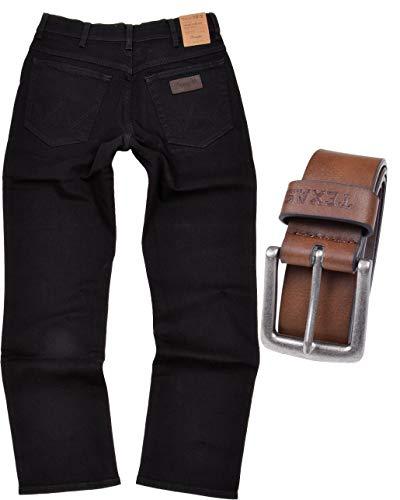 Wrangler Texas Stretch Herren Jeans Regular Fit inkl. Gürtel (W46/L32, Black Overdye + brauner Gürtel)