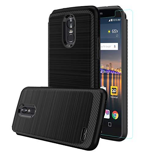 LG Stylo 3 Hülle, LG Stylo 3 Plus, LG Stylus 3, LG LS777 Schutzhülle mit HD-Displayschutzfolie, doppellagige Hybrid-stoßfeste Metallic-Pinsel-Textur, Hartschale für LG Stylo 3, schwarz (Habe Lanyard)