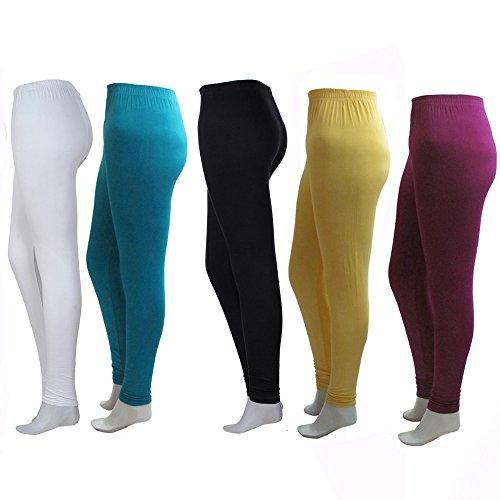 KHI Womens Solid Colourful Leggings (Pack Of 5) (Khi Forever Leggings Medium Size_Multicolor)
