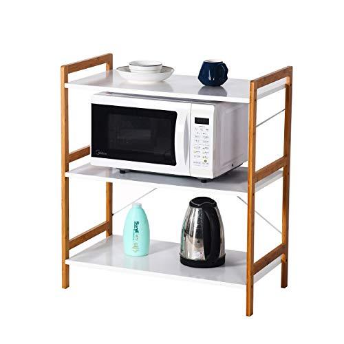 Küchenregal Mikrowellenhalter Standregal Holz mit 3 Ablagen Stilvoller Haushaltsregal für Küche Wohnzimmer Büro 78x70x37cm Weiß