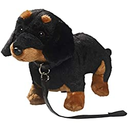 Peluche - Perro Salchicha, Dachshund Negro conguiar pie de Peluche (Felpa, 30cm) [Juguete] 3362