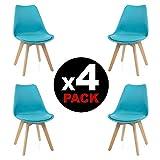 duehome, beench) Pack di 4sedie, legno di faggio, 49x 53.5x 83cm, Turchese