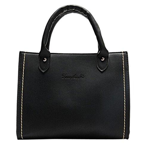 UFACE Diagonale Tasche Der Retro Leder Schulter Dame Damenmode Leder UmhäNgetaschen Mit Corssbody Bag & Handtasche (Schwarz)