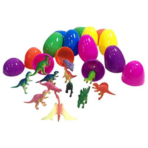 holitie 12PCS Ostereier gefüllt mit Mini Dinosauriern und Mini Auto Partybedarf, Lernmaterialien