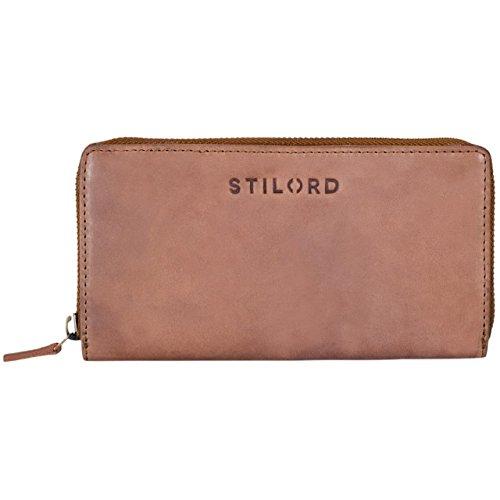 STILORD 'Mila' Klassisches Portemonnaie Damen Geldbörse groß mit Reißverschluss EC-Karten Fächer Quer Leder, Farbe:cognac - hellbraun (Klassische Leder Geldbörse Aus Leder)
