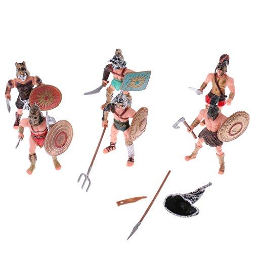 Magideal 6 pezzi modello gladiatori romani antiche esercito militare azione figure gioco set fai da te plastica regale