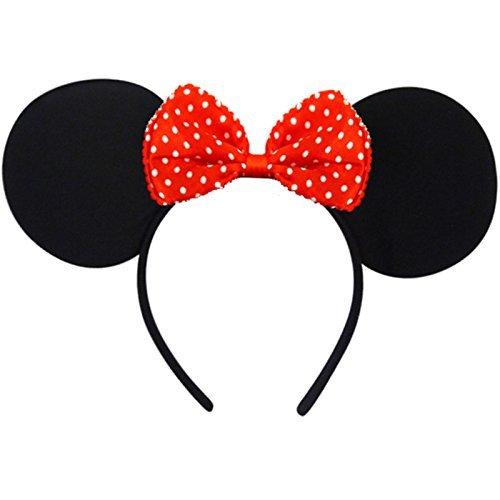 German Trendseller® - Minnie Maus Ohren + Schleife ┃ Kostüm ┃ Mäuschen Ohren ┃ Werden Sie zur Minnie Maus ✔