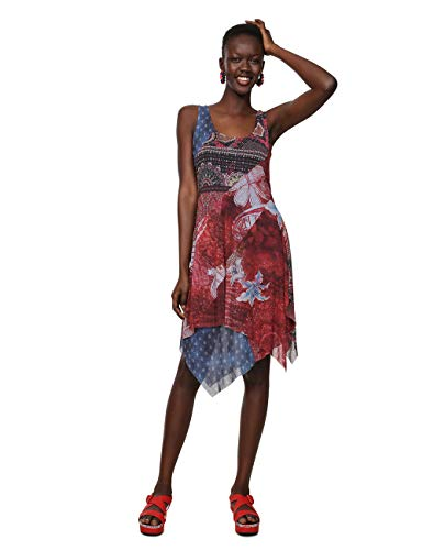 Desigual Damen Kleid Dress Sleeveless PEQUOT Woman RED, Rot (Rojo Marine 3053) Large