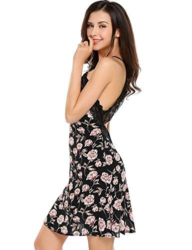 ADOME Damen Nachthemd Baumwolle V-Ausschnitt Unterkleid Träger Sexy Pyjama Kleid Spitze SchwarzGrau/Blau 5901_Schwarz