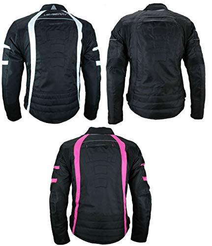 Heyberry Damen Motorrad Jacke Motorradjacke Textil Schwarz Weiß Gr. XL / 42 - 2
