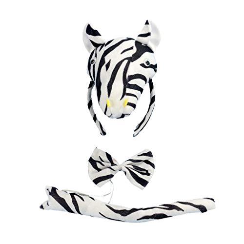Kit Kostüm Zebra - Amosfun Kindergeburtstag bevorzugt Halloween Tier Cosplay Set Zebra Stirnband Krawatte Schwanz kostüm zubehör kit Leistung Prop