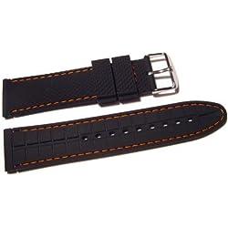 VK von Bura n01. com Silicone Watch Strap 18mm Black with Orange Stitching Watch Strap