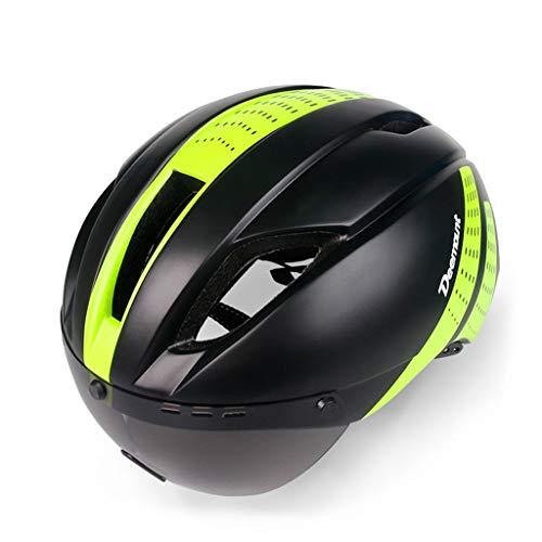 QMHWTK Herren- und Damenfahrräder Universeller Helm für Outdoor-Sportgeräte Einteilig mit Schutzbrille Rennrad Mountainbike-Reithelm Youngster (Color : Black Green)