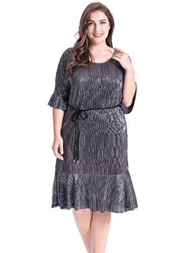 Chicwe Damen Metallic Crystal Pleat Große Größen Kleid mit Gürtel Schwarz 3X (Knit Kleid Metallic)