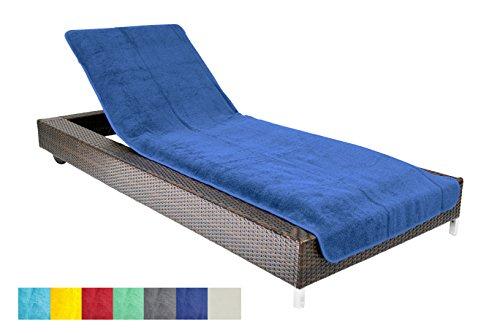 Schonbezug für Gartenliege, Strandliegenauflage, Frottee Schonbezug, 100% Baumwolle - ca.75x200 cm - Blau - Brandsseller