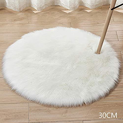 FADDR Teppich Sitzkissen Haarige Flauschige Wohnzimmer Dekoration Weiche Gegend Teppich Runde Fußmatten Faux üsch ain(30cmWeiß)
