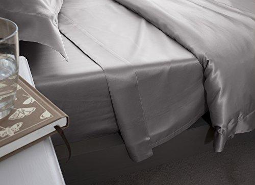 Jasmine Silk hochwertiges Betttuch / Bettlaken - Haustuch aus 100% Maulbeere 19MM Charmeuse Seide - Laken ohne Gummizug, in weiteren Größen verfügbar (Grau) - doppelt 230cm x 275cm (Maulbeere-seide-stoff)