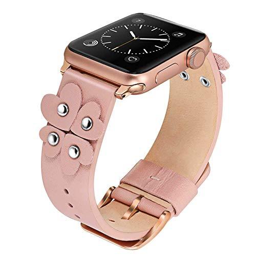 TRUMiRR Armband kompatibel mit 44mm 42mm Apple Watch, Weichen Echtleder Uhrenarmband Einzigartige Herz Design Armband Ersatzband für iWatch Aple Watch Serie 4 3 2 1 Alle Modelle (Watch Herz)