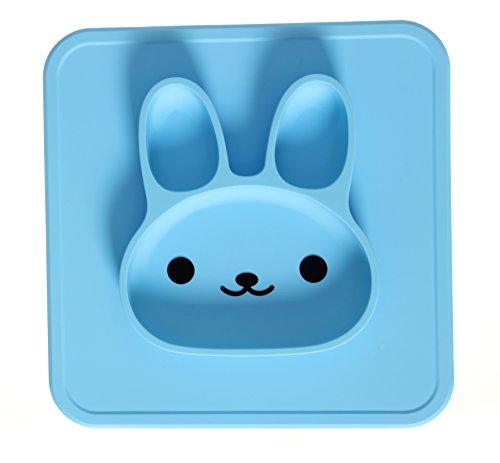 NUUR 100% LFGB Lebensmittelqualität Silikon Material ungiftig Baby Tischset Kaninchen geformt Essen Platte für Kinder Hellblau
