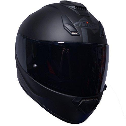 Nitro n3100casco integrale oscurante, nero opaco, per moto + visiera scura