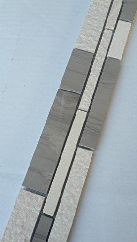 Mosaik Bordüre Marmor Naturstein Fliesen Yawood Grau Beige Creme Weiß Bad B038 -