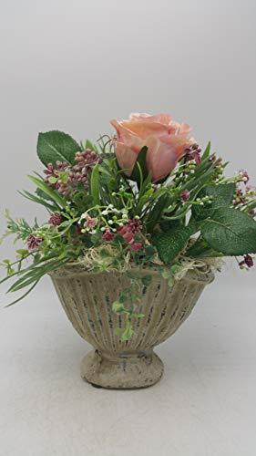 Tischgesteck Sommergesteck Blumengesteck Kunstfloristik Rose Gräser rosa