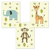 kizibi 3er Poster Set Elefant AFFE Giraffe DIN A4 | ohne Bilderrahmen | Kinderzimmer Babyzimmer Jungen Mädchen Wandbild Tiere Zoo (Set 04)