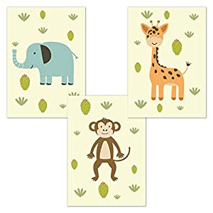 kizibi® 3er Babyzimmer Poster Set Safari Zoo DIN A4 | ohne Bilderrahmen | Kinderzimmer Jungen Mädchen Wandbild Tiere…
