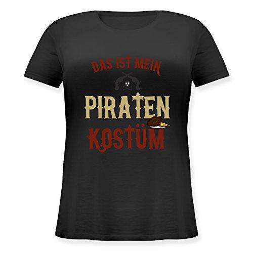 Pirat Kostüm Shirt Schwarz - Karneval & Fasching - Das ist Mein Piraten Kostüm - S (44) - Schwarz - JHK601 - Lockeres Damen-Shirt in großen Größen mit Rundhalsausschnitt