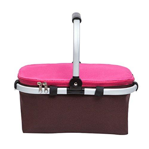 Natuce Folding Picknick-Korb, 22L Großer Faltisolierter Lunchpaket, Camping Einkaufen Kühltasche mit Aluminium Tragegriffe zum Wandern Angeln Reise BBQ - Rose-Red