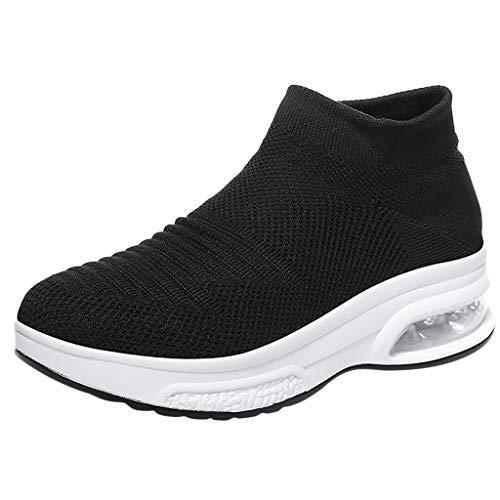 friendGG Damen Schuhe Frauen Sommer Fliegen Gewebte Atmungsaktive Slip-On Socken Schuhe Air Cushion Leichte Turnschuhe Mode Laufschuhe Fitness StraßEnlaufschuhe Atmungsaktiv rutschfeste Sportschuhe -