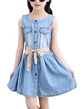 Zhhlaixing Lovely Kids Denim Dress Summer Girls Sleeveless Dress Clothes