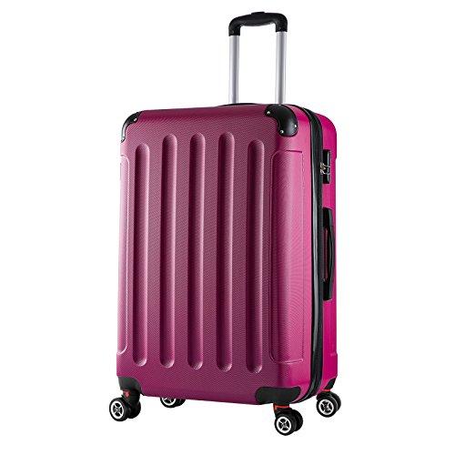 WOLTU RK4203pk, Reise Koffer Trolley Hartschale Volumen erweiterbar, Reisekoffer Hartschalenkoffer 4 Rollen, M/L/XL/Set, leicht und günstig, Pink (XL, 76 cm & 110 Liter)