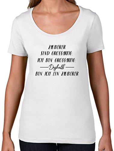 Ich Bin Grossartig - Zauberer - Damen T-Shirt mit Rundhalsausschnitt- Weiß - (Und Schwarz Der Weiß Von Oz Zauberer)