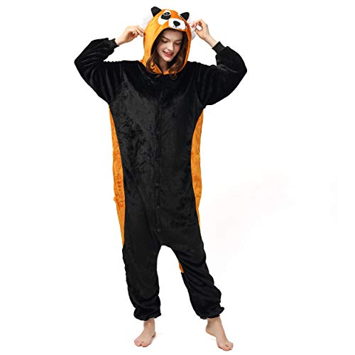Katara 1744 (30+ Designs) Roter Panda-Kostüm, Unisex Onesie/ Pyjama-Qualität für Erwachsene & (Panda Maskottchen Kostüm Für Erwachsene)