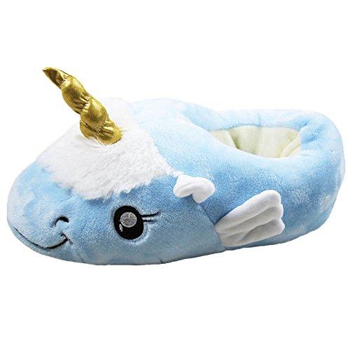 Kenmont Unicorn Einhorn Plüsch Hausschuhe Damen Pantoffeln Plüsch Spielzeug Schuhe für Erwachsene (Wing Unicorn (Blue Wings Kostüme)
