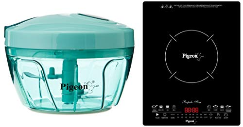 Pigeon by Stovekraft New Handy Plastic Chopper with 3 Blades, Green + Rapido Slim 2100-Watt Induction Cooktop, Black