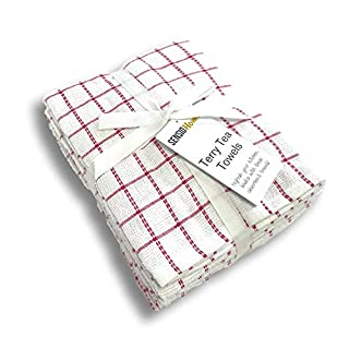 Sensio Home Vintage Kitchen Tea Towels - Thick 100% Cotton 5 Pack - Large 45 x 65cm - Heavy Duty, Super Absorbent, Professional Grade Classic Terry Dish Cloths Set - Red