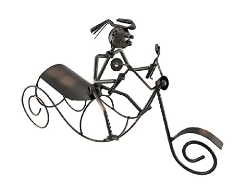 Scooter Rider Bottle Holder Recycled Steel Sculptural Wine Display