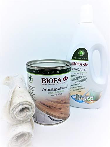 Biofa Arbeitsplattenöl 1 L | Set mit Nacasa 1 L + 2 Ölsaugtücher