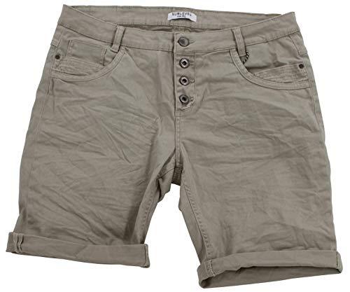 STS 15 Farben Damen Jeans Bermuda Short by Boyfriend Look tiefer Schritt Jeansbermuda mit Kontrastnähten Washed Kurze Hose (XL, Dark Beige)